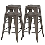 "FDW Metal Bar Stools Set of 4 Counter Height Barstool Stackable Barstools 24 Inch 30 Inch Indoor Outdoor Patio Bar Stool Home Kitchen Dining Stool Backless Bar Chair (Gun, 24"")"