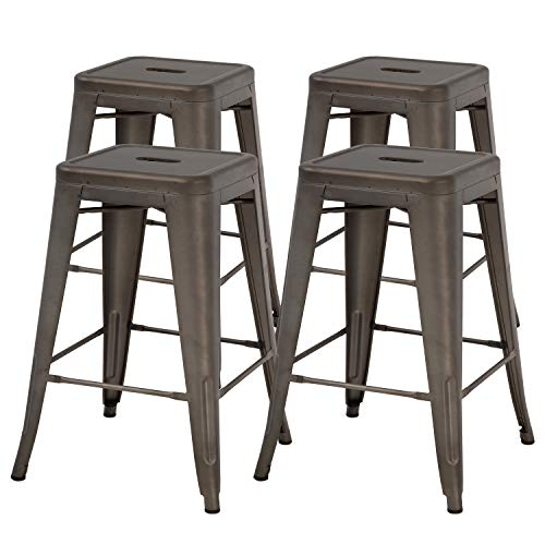 """FDW Metal Bar Stools Set of 4 Counter Height Barstool Stackable Barstools 24 Inch 30 Inch Indoor Outdoor Patio Bar Stool Home Kitchen Dining Stool Backless Bar Chair (24"""", Gun)"""