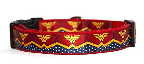 MasTazas Wonder Woman Dc Comics Hundehalsband Handgemachte Größe M Ohne Hundeleine Dog Collar Handmade