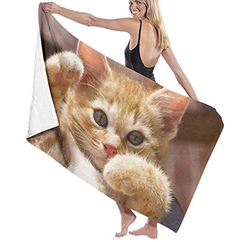 tyui7 Cute Kitty Pose Pattern 3D Polyester Toalla de baño Grande, Toalla de Playa Ligera y Absorbente 130x80 cm, Secado Suave y rápido