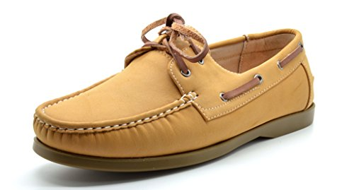 Bruno Marc MODA ITALY SUNSEEKER-2 Men's Casual Loafers Two-Eye Contrasting Leather Lace Up Classic Driving Boat shoes,2-tan,8.5 D(M) US