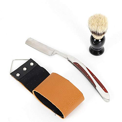 Vintage razor,men's straight edge razor brush sharpening shaving set strap wooden box kit new vintage folding knife beard styling barber hair facial best gift