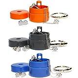 Lion Latch 3 Pack Grey Blue Orange - Traveling Jewelry Holder Storage Pill Box Keychain Container Jewelry Box Case (3 Pack - Grey, Blue, Orange)
