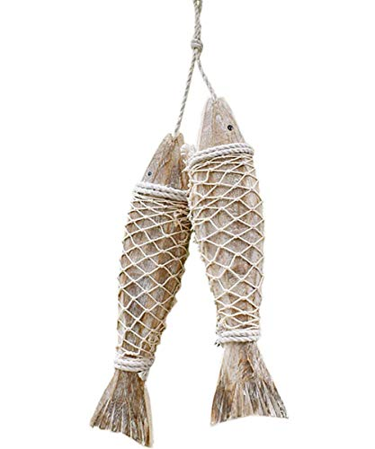 Fangoo 2 Pcs Wood Fish Decor Ornament Wall Hanging Wooden Fish Decorations for Home Decoration Nautical Beach Themed Wall Ornament (L)