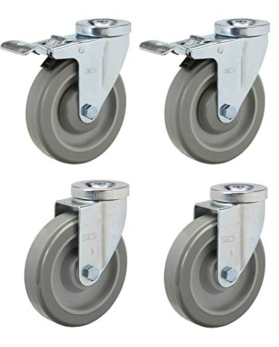 Caster Set of 4   5' Polyurethane with Precision Bearings   2 Total Locking and 2 Swivel with 1/2' Hollow Rivet Mounting Hole