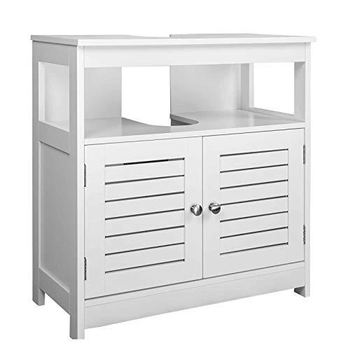 EUGAD Armario Bajo Lavabo Mueble para Debajo de Lavabo Mueble Lavabo de Baño Almacenamientocon 2 Puertas MDF 60 x 30 x 60 cm Blanco 0015WY