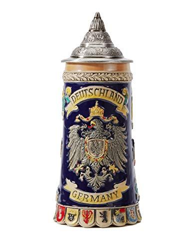 Beer Stein German Beer Stein Ceramic Beer Mug Handmade Cup Tankard Petwer Lid Germany Coats of Arms Relief Gifts Souvenirs Giftbox 0.6 Liter