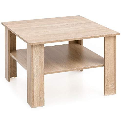 Mesa de café Sonoma de Roble, 60 x 42 x 60 cm, Mesa de Madera con Estante, Mesa de salón, Mesa de café, Mesa de salón, Mesa de café, Mesa con Espacio de Almacenamiento