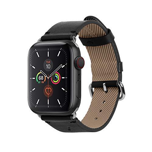 Native Union Klassisches Uhrenarmband für die Apple Watch 38/40mm – Echtes Italienisches Nappaleder Edelstahlelemente mit Weichem Nubuk-Futterleder (SCHWARZ)