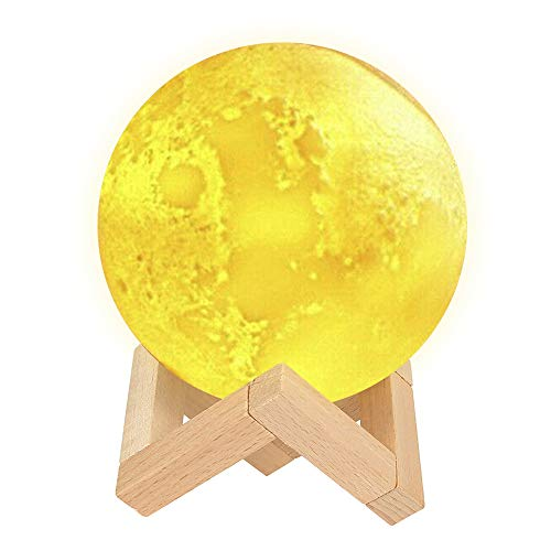 Lámpara de Luna en 3D con Humidificador Alimentado USB y 3 Color Luz de Luna Regulable Regalo Ideal 13,5 cm con Base de Madera