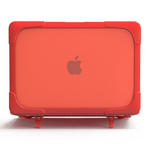 MacBook Air 13(2018)ケース,ハードカバー超薄鎧のような 衝撃に強く,立ち上がる支えがついており,型番A1932 - 赤