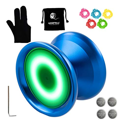 MAGICYOYO Y02-Aurora Light Up Professional Unresponsive Yoyo Blue with Led Lights with Glove, Yoyo Holster, 5 Strings, Green LED Light