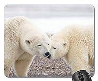 2つのホッキョクグマ野生動物マウスパッドアンチスリップデスクトップマウスパッドゲーミングマウスパッド