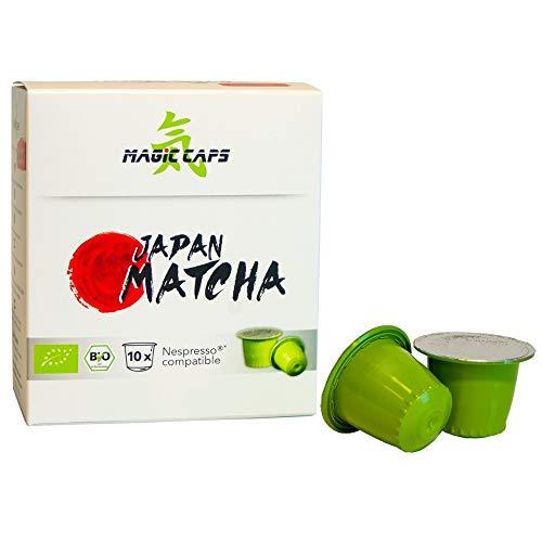 MatchaMagic Matcha Caps | Nespresso®-kompatible Caps mit Premium Bio Matcha Pulver | Original Grüntee aus Japan | 100{0b7c882f9d2981cbb8ee44a6bd272fcdfa7c2198c5ac75b0621a5faca6cd4d28} Bio | recyclebarer Kunststoff | 10 Matcha Kapseln Nespresso kompatibel á 1,5g (1)