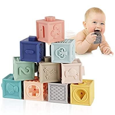 Mini Tudou Baby Blocks Soft Building Blocks Toys Educational Squeeze Teether Montessori Toy w/ Numbers Animals Shapes Textures for Babies Toddlers Boys & Girls from Mini Tudou