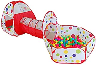 babygo portable kids 3-in-1 colorful dotted tunnel playhouse ball pool ball pit tent summer indoor outdoor play fun toy (balls not included, Multi color)