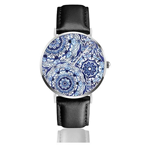 Delft Blaues Mandalaslederarmband Armbanduhr Casual Classic Edelstahl Quarz Business Armbanduhr