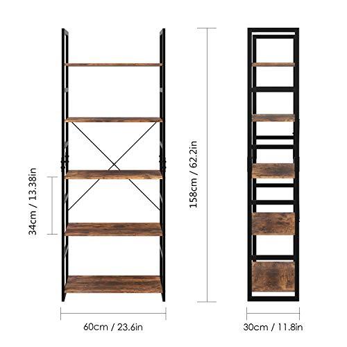 Homfa Scaffale in Ferro Battuto Moderno Multiusi Ripiani Porta Oggetti Mensola Libreria Scaletta Organzier Decorativa Casa (5 Ripiani)