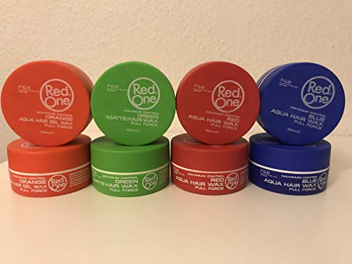 RedOne Maximum Control Aqua Hair Gel Wax 2xOrange,2XGreen,2XBlau,2XRed Full Force 150ml