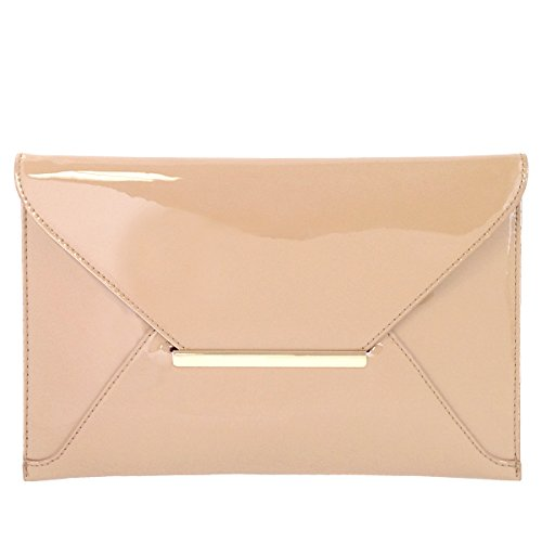 Faux Patent Leather Envelope Candy Clutch Bag, Nude