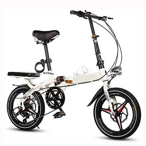 HUAQINEI Bicicleta Mini Scooter Plegable portátil Ultraligero para Adultos con Frenos de Disco Dobles y absorción de Impactos Doble Adecuada para Viajes de Trabajo, Blanco