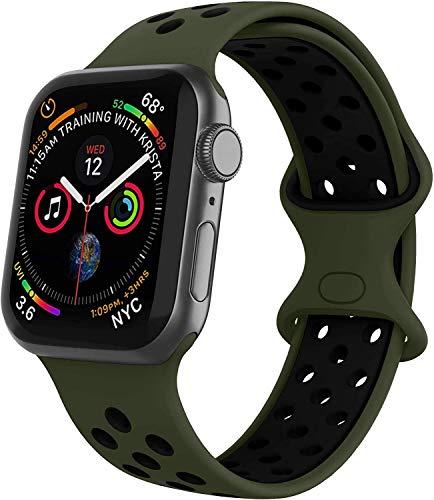 VIKATech Compatible Cinturino per Apple Watch Cinturino 44mm 42mm, Due Colori Morbido Silicone Traspirante Cinturini Sportiva di Ricambio per iWatch Series 6/5/4/3/2/1, S/M, Olive Flak/Nero