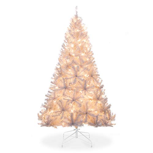 Best Choice Products 6ft Pre-Lit Hinged Artificial Christmas Pine Tree Holiday Decoration w/ 250 Warm White Lights, Metal Stand, 1,000 Tips, Easy Assembly, White