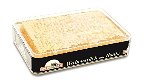 Panal de miel ImkerPur en miel de acacia altamente aromática (cosecha 2019), juego de 2, cada uno 400 g (total 800g), en caja fresca de alta calidad y apta para alimentos