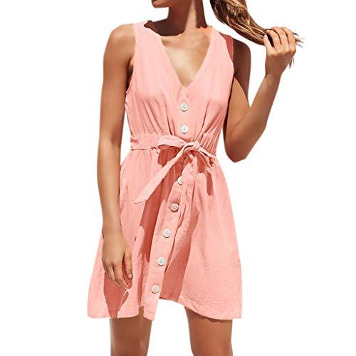 FOTBIMK Frauen Sommer V-Ausschnitt Fliege Kleid Einfarbiges Einfaches Windkleid Ärmelloser Minirock Knopf Kleid Jugendkleid(Rosa,X-Large)
