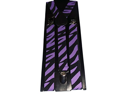 Inconnu Easy Attached Purple & Black Zebra Stripe Design Adjustable Braces - Bretelles - Homme Purple & Black Color Taille Unique