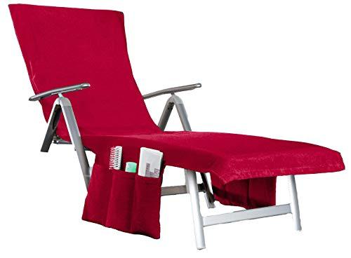 beties Nick & Ben Sunny Coussin de chaise longue 2 en 1 convertible en sac de bain + poches latérales + rabat à capuche env. 70 x 200 cm en tissu éponge Karmin