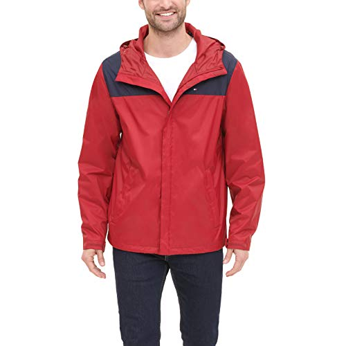Tommy Hilfiger Men's Lightweight Breathable Waterproof Hooded Jacket, Navy/Red, Small