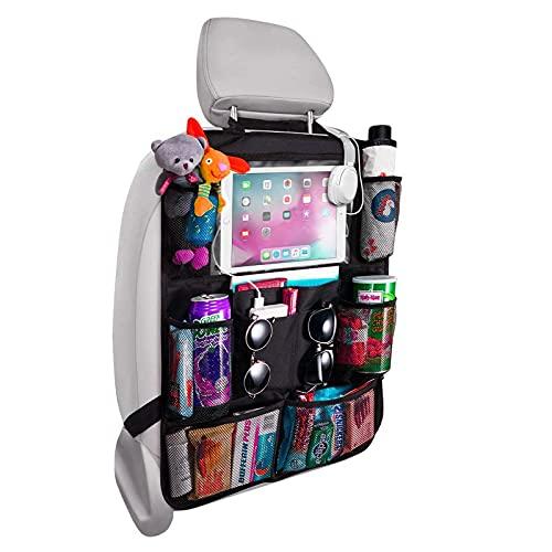 Organizador para asiento trasero de coche, organizador para asiento trasero de coche, con 8 bolsillos de almacenamiento, color negro