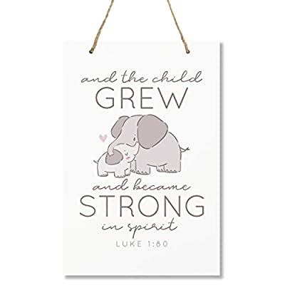 """LifeSong Milestones Elephant Wall Decor Decorations Signs for Kids, Bedroom, Nursery, Hallways, Baby's Boys and Girls Room, Toddlers Size 8"""" x 12"""" Proudly Made in USA (and The Child Grew Blue Heart)"""