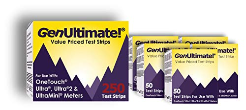 GenUltimate Blood Glucose Test Strips 250 Count for Use with One Touch Ultra, Ultra 2 and Ultra Mini Meter, (5x50) Strips