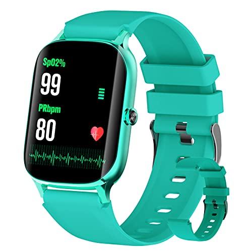 BNMY Smartwatch 1.69' Táctil Completa Reloj Inteligente Impermeable 5ATM para Hombre Mujer Pulsera Actividad Inteligente con Monitor De Sueño, Oxígeno De Sangre para, Pulsómetro,Verde
