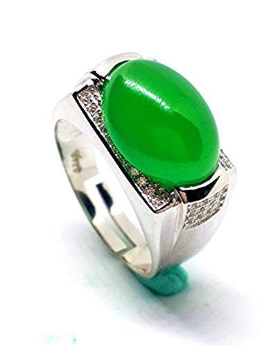 Yigedan Natural verde Jade anillo redondo 925plata