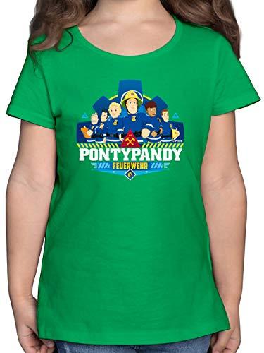 Feuerwehrmann Sam Mädchen - Pontypandy Feuerwehr Team - 152 (12/13 Jahre) - Grün - Feuerwehr - F131K - Mädchen Kinder T-Shirt