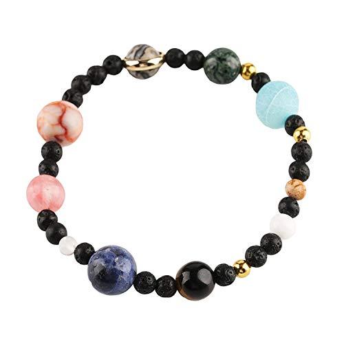 1 pulsera de piedras preciosas de Goldenlight, con sistema solar y chakra ajustables.