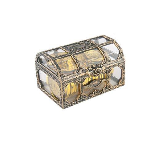 WYBFZTT-188 Plástico Transparente Pirate Tesoro Caja Cristal Gema Joyería Joyería Almacenamiento Organizador Tinksa Treasure Cofre