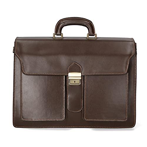 Chicca Borse Borsa briefcase uomo borsa a mano da lavoro in pelle vacchetta portadocumenti 001 grande italiana - Marrone Scuro