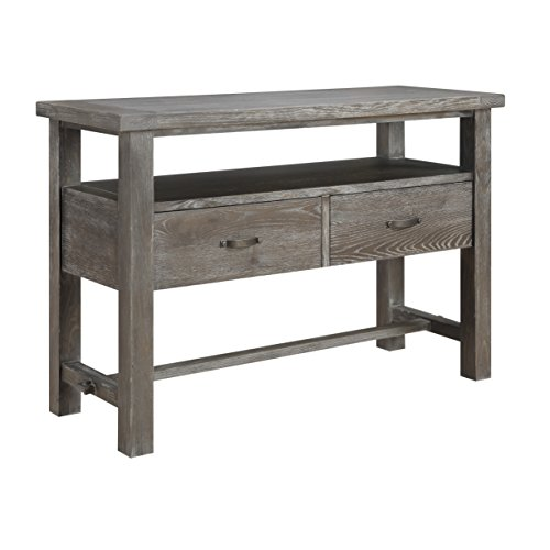 Emerald Home Paladin Rustic Charcoal Gray Dining Table with Self Storing Butterfly Extension Leaf And Farmhouse Trestle Base