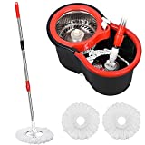 Spin Mop Bucket, 360 Spin Mop and Bucket System with 3 Mop Heads, Stainless Steel Spin Bucket Mop for Floor Cleaning