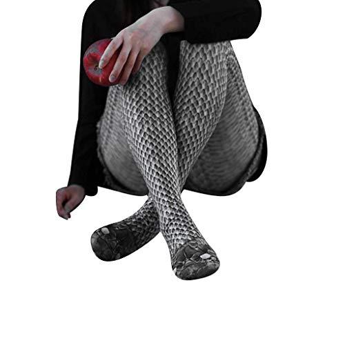 Zolimx Damen Digitaldruck Schlange Strümpfe Sport Leggings, Frauen gedruckt Yoga Fitness Skinny Laufhose Stretch Sporthose Hosen Übergröße (Schwarz, L)