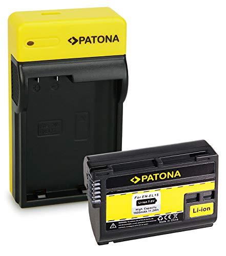 PATONA Premium Batería EN-EL15 con Estrecho Cargador Compatible con Nikon 1 V1, Z6, Z7, D7000, D7100, D7200, D7500
