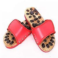女性の家庭用マッサージ靴、石畳の健康ペディキュアフィットネスベッドルーム磁気療法マッサージスリッパ、倦怠感を和らげ、血行を促進 (Color : Red, Size : 36-37)