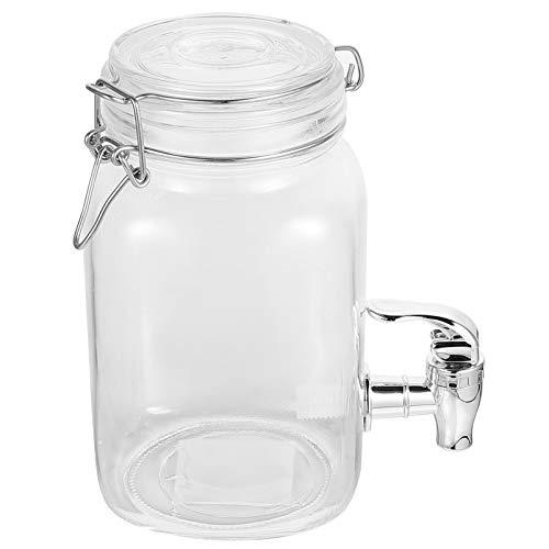 YARNOW Dispensador de Bebidas de Vidrio Transparente de 1L con Tapa Hermética Y Tapa Hermética ABS Frasco de Botellas de Jugo de Cocina para Bebidas de Cóctel Agua