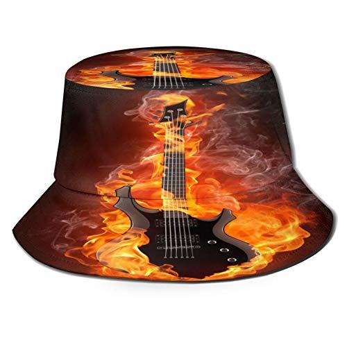 TTLUCKY Sombrero de Pesca,Quema de Guitarra eléctrica llameante,Senderismo para Hombres y Mujeres al Aire Libre Sombrero de Cubo Sombrero para el Sol