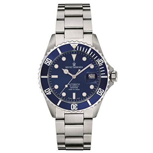 Revue Thommen Reloj de pulsera automático Diver para hombre, diámetro de 42 mm, acero inoxidable, bisel azul 17571.2128