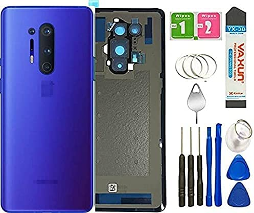 One Plus 8 Back Cover Glass Replacement with Camera Glass Lens Housing Assembly Parts for Oneplus 8 6.55 inch + Tools (One Plus 8 Pro/Blue)